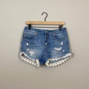 High Rise Lace Trim Distressed Jean Shorts